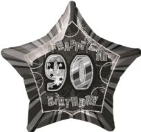 "Glitz 20"" Star Balloon Black & Silver - Age 90"